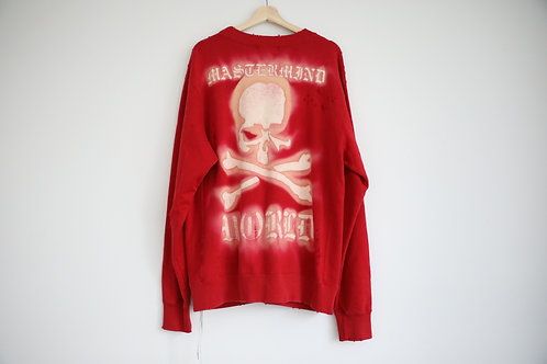 Mastermind Japan World Red Distressed Side Zip Sweatshirt