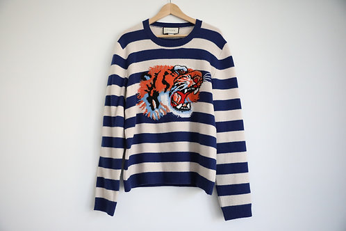 Gucci Embroidered Tiger Head Striped Sweater