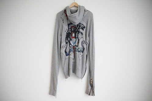 Balmain Embroidered Distressed Hoodie