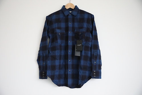 Saint Laurent Paris Blue Flannel Shirt