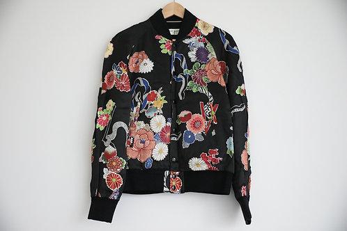 Saint Laurent Paris Floral Print Silk Jacket