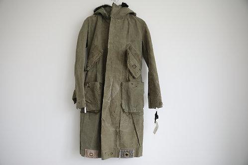 Greg Lauren Fur Hooded Distressed Army Parka