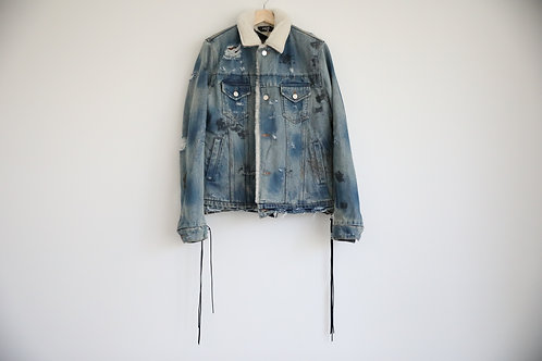 Amiri 16FW campaign Indigo Shearling Distressed Trucker Jacket