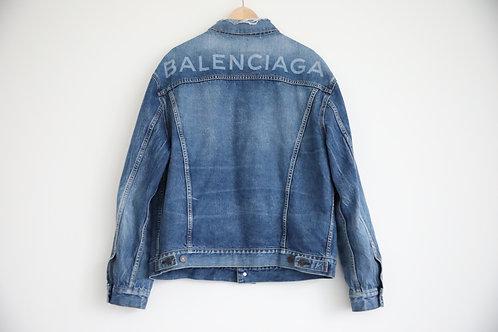 Balenciaga Distressed Logo Denim Jacket