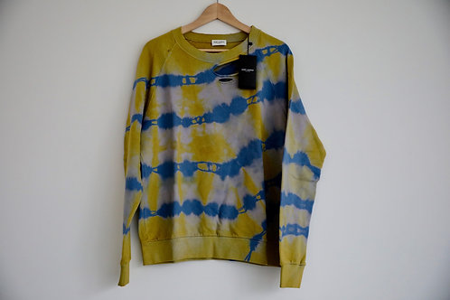Saint Laurent Paris Tie Dye Distressed Sweatshirt