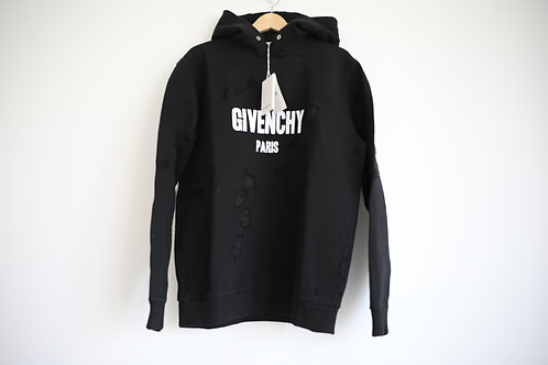 Givenchy Black Logo Distressed Hoodie