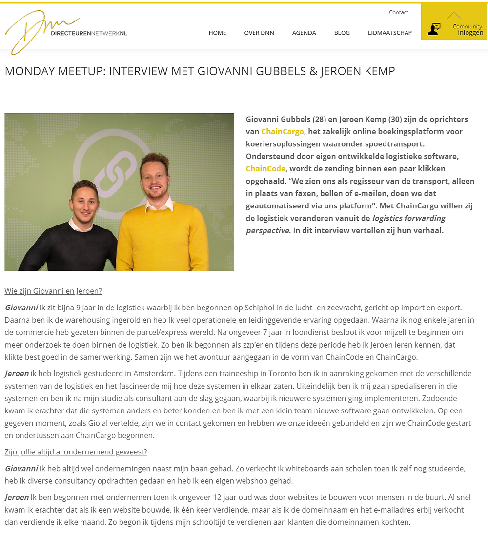 Interview with Giovanni Gubbels and Jeroen Kemp from ChainCargo