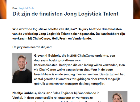 Giovanni Gubbels is finalist voor de verkiezing 'Jong Logistiek Talent 2020'