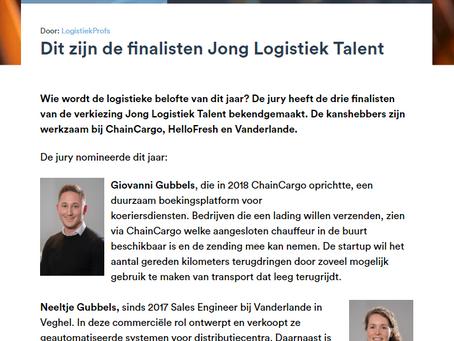 Giovanni Gubbels is finalist voor de verkiezing 'Jong Logistiek Talent 2020'