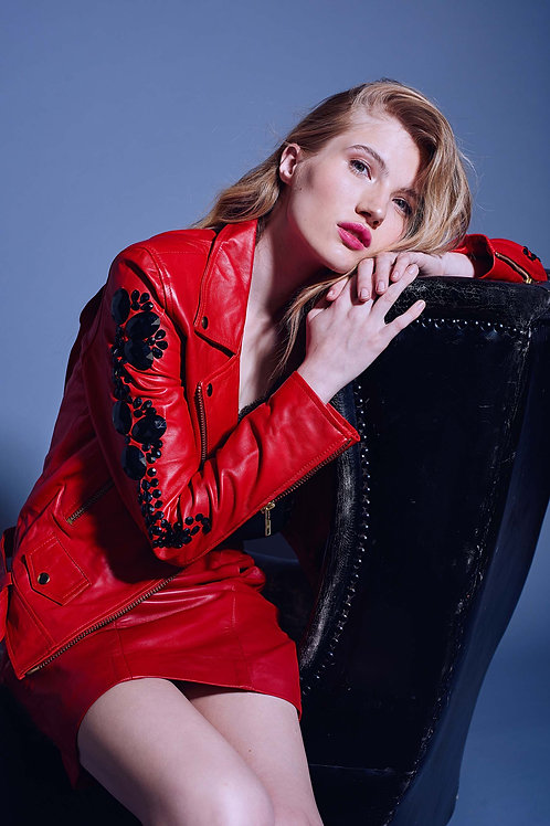 RED RAN JACKET WITH STONES