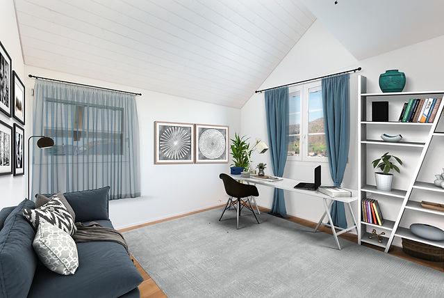 Sclafzimme Büro 3D möbliert