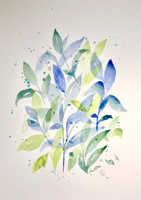 Original Watercolor Leaf Contemporary Fine Art Tropical Leaf Art Lover Gift, Botanical Wall Art Botanical Art Set Of 2 Modern Art