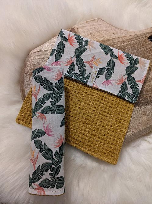 Duo d'essuie-tout lavables motif Fleurs de Paradis (jaune)