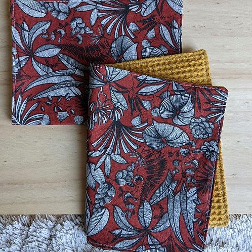 Duo d'essuie-tout lavables motif floral  (rouge/jaune)