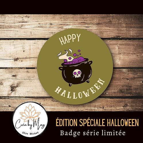Badge Halloween motif Chaudron