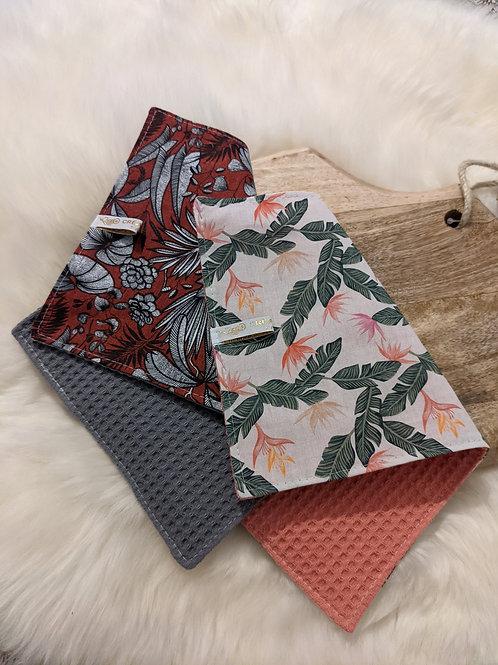 Duo d'essuie-tout lavables motif Bicolore floral (gris /rose)