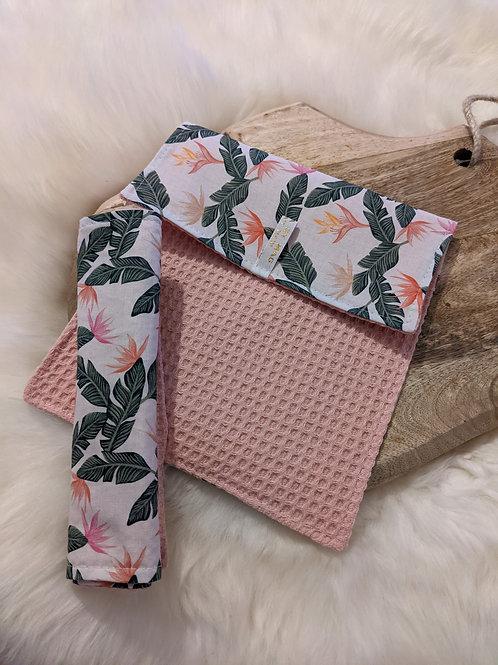 Duo d'essuie-tout lavables motif Fleurs de Paradis (rose)