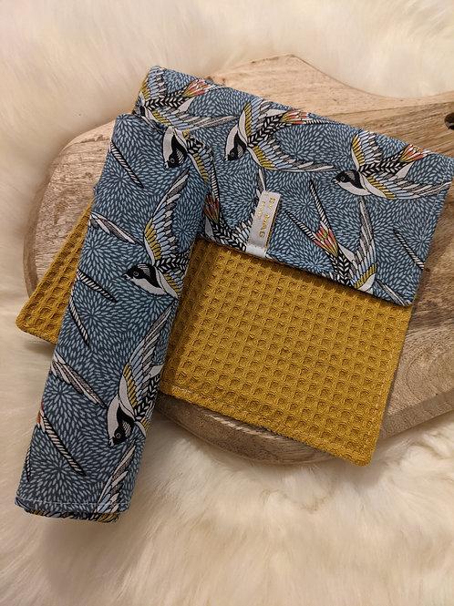 Duo d'essuie-tout lavables motif Hirondelles (bleu/jaune)