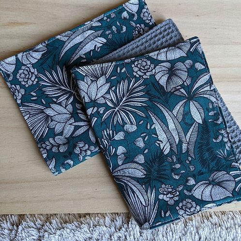 Duo d'essuie-tout lavables motif floral (bleu/gris)