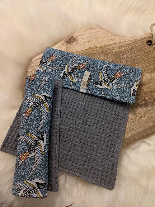 Duo d'essuie-tout lavables motif Hirondelles (bleu/gris)
