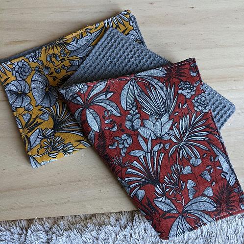 Duo d'essuie-tout lavables motif Bicolore floral (jaune / rouge)