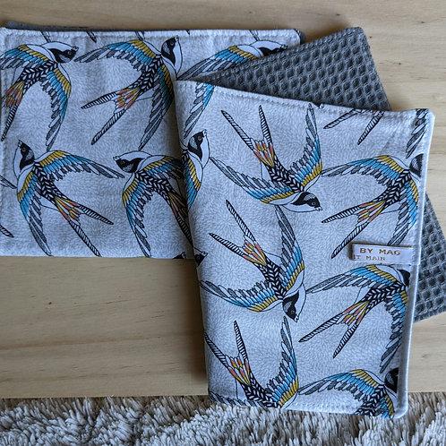 Duo d'essuie-tout lavables motif Hirondelles claires (gris)