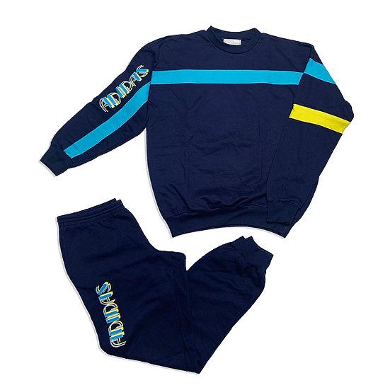 Adidas Vintage Trainingsanzug dunkelblau / türkis / gelb - S