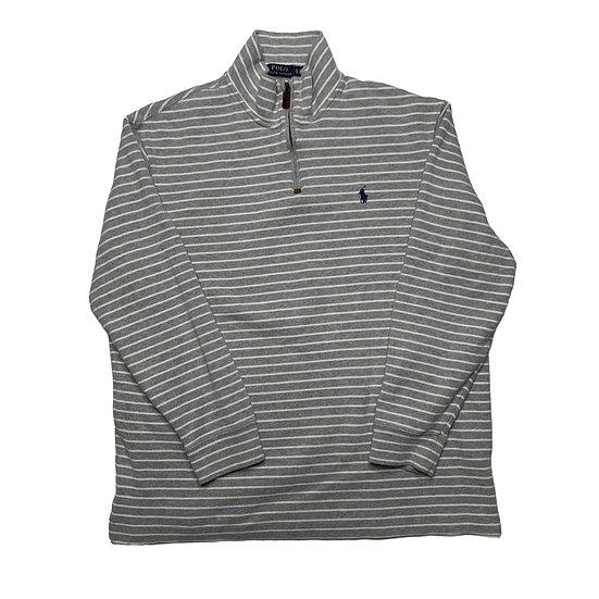 Ralph Lauren Vintage Halfzip Sweatshirt grau / weiß gestreift - XL