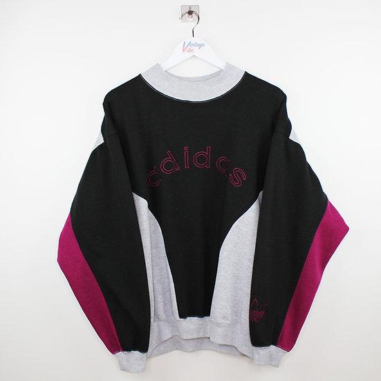 Adidas 90s Vintage Sweatshirt schwarz / grau / lila - L