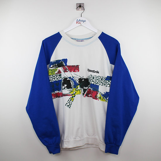 Reebok 90s Vintage Sweatshirt weiß / blau - M
