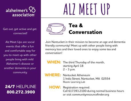 Memory Loss support on 3rd Thursday beginning April 18 at 2 PM at the Atheneum