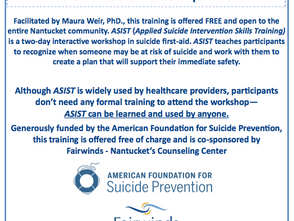Free ASIST- Applied Suicide Intervention Skills Training Jan. 18 & 19