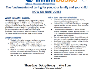 "Free ""Basics"" training program for parents offered by NAMI on Nantucket!"