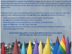 "FREE ""safeTALK"" training- Suicide Alertness for Everyone"