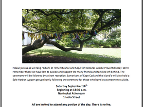 Remembering Those Lost to Suicide at the Nantucket Atheneum on Sept. 16th