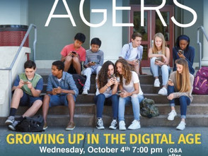 "Free community showing of ""Screenagers"" on October 4th"