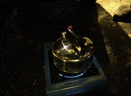 Monday morning 5am making good old fashioned cuppa on a camp stove.