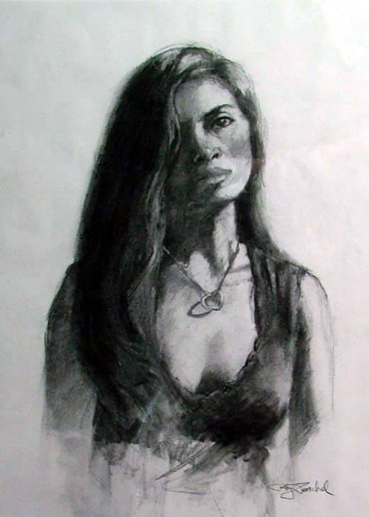 Graphite drawing of young woman by Roy Paschal
