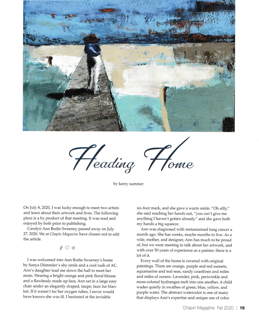 "Cover Page for article ""Heading Home"" in Chapin Magazine"