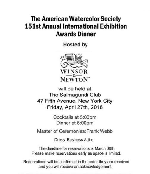 American Watercolor Society Award Dinner Invitation
