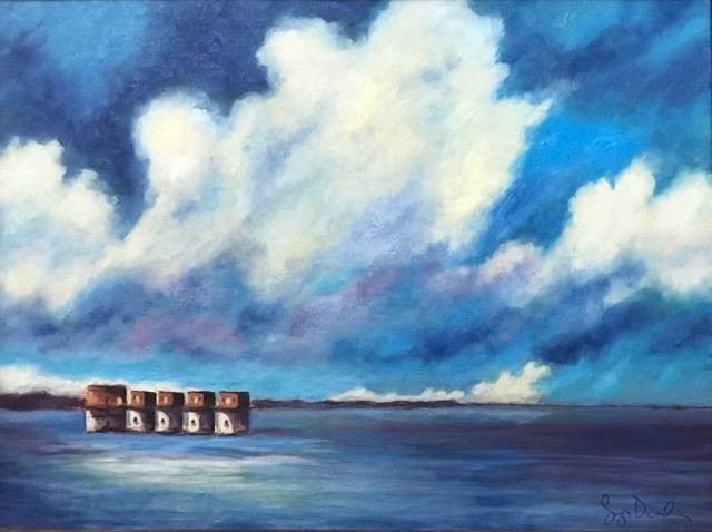 """Watercolor Painting """"Lake Murray: A View from the DAM"""" by Adrianna Vidal"""