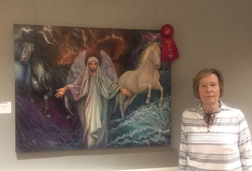 """Dale Bishop with her 2nd place piece """"Wind, Fire, Water"""""""