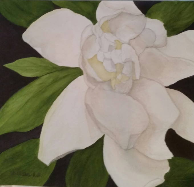 """Watercolor Painting """"Gardenia"""" by Adelia Ruth"""