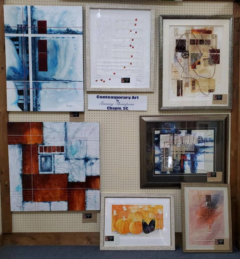 Photo of Display wall with Tommy Thompson's artwork