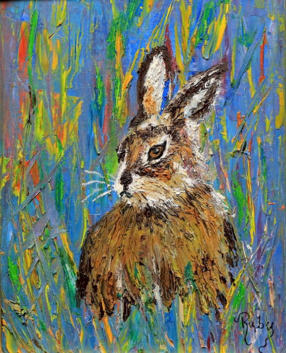 """Painting: """"Briarpatch Bunny"""" by Ruby DeLoach"""