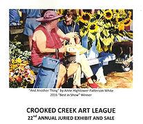 Crooked Creek Art League;2016 Annual Juried Art Show