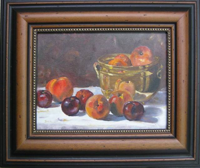 "Oil Painting ""Brass Bowl with Fruit"" by Faye Delia Meetze"