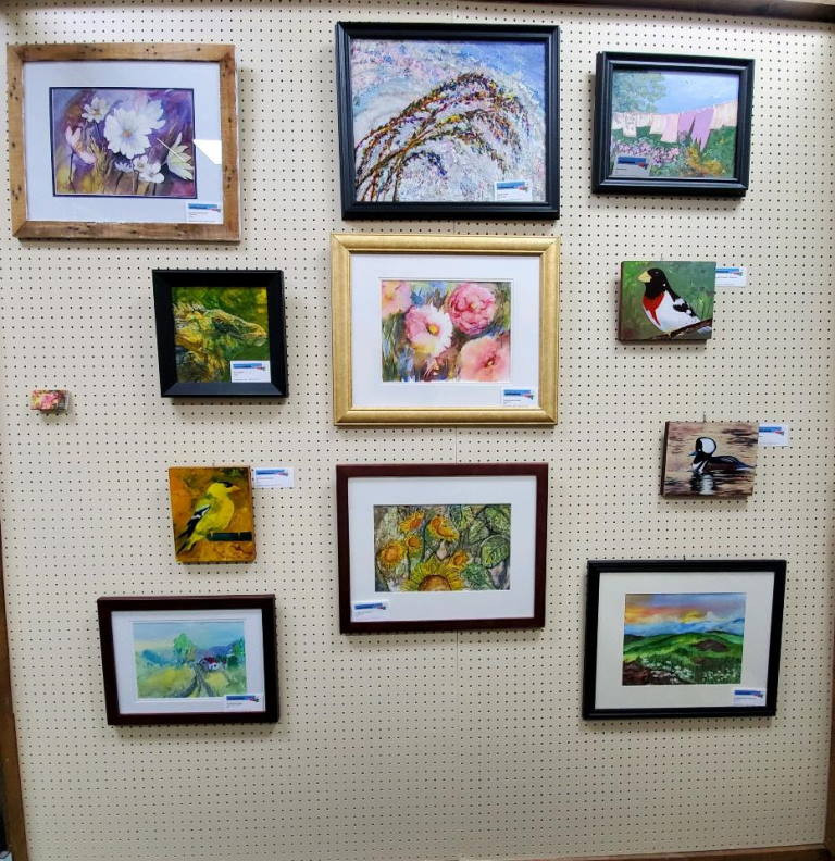 Photo of Display wall with Maureen Carter's artwork