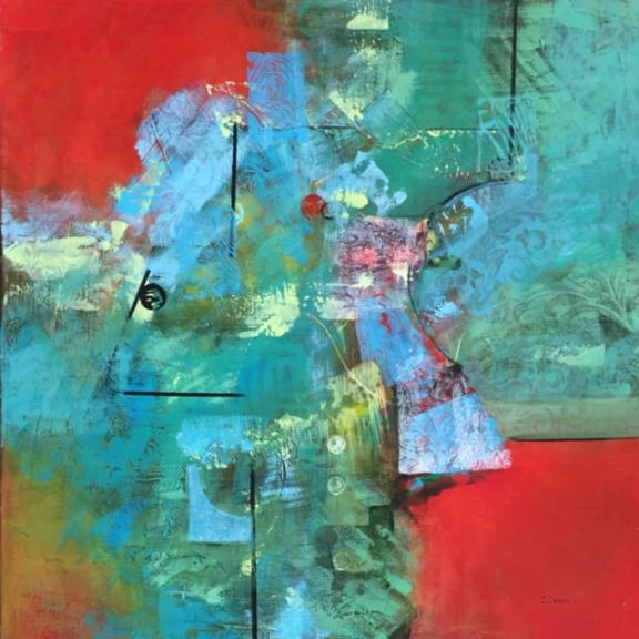 """Super Nova"" Abstract painting by Ingrid Carson"