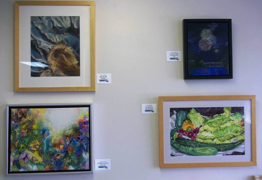 Photo of Gallery Display Wall with art by Karen Larrabee